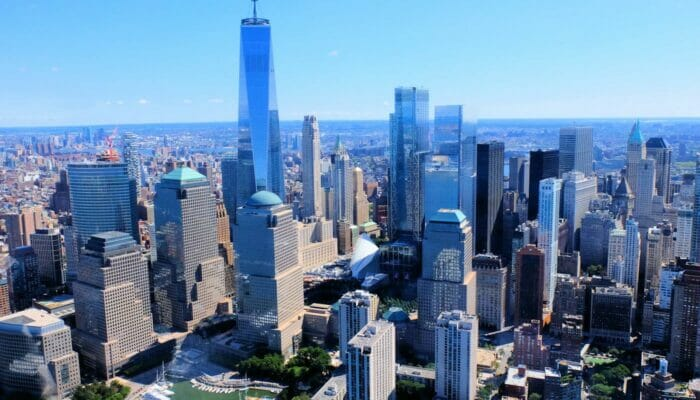Lower Manhattan e il Financial District di New York - Veduta aerea