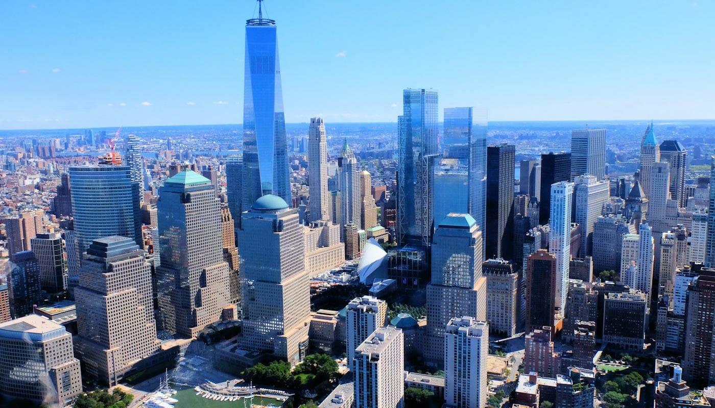 Lower Manhattan e il Financial District di New York - Veduta aerea