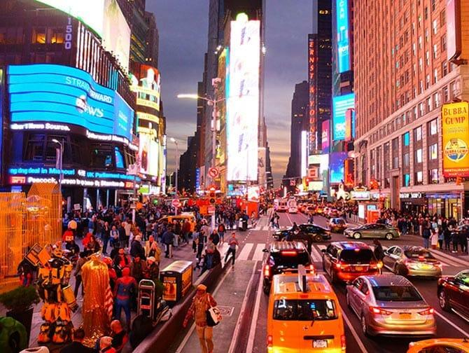 Big Bus a New York - Times Square di notte