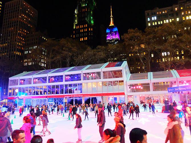 La stagione natalizia a New York - pattinare a Bryant Park