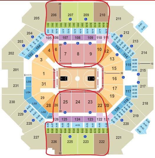 Biglietti dei Brooklyn Nets - Barclays Center Mappa dei posti a sedere