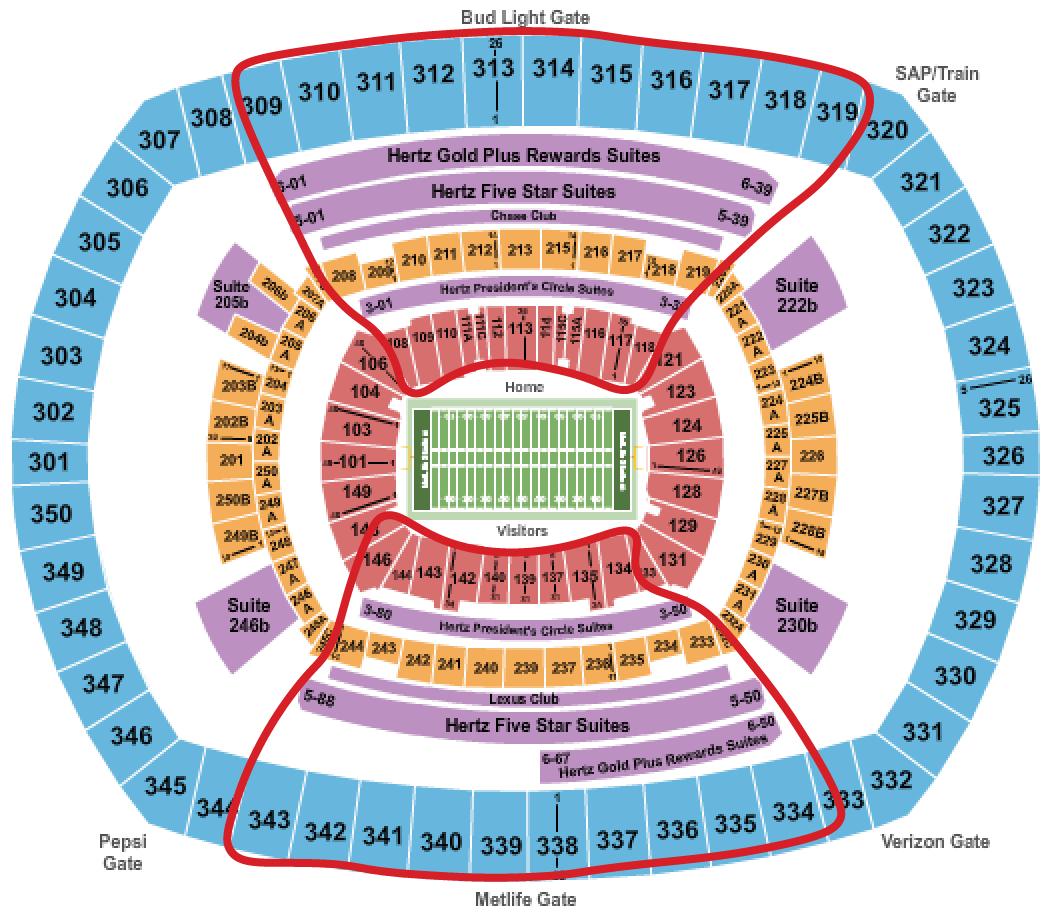Biglietti dei New York Giants - Metlife Mappa dei posti a sedere