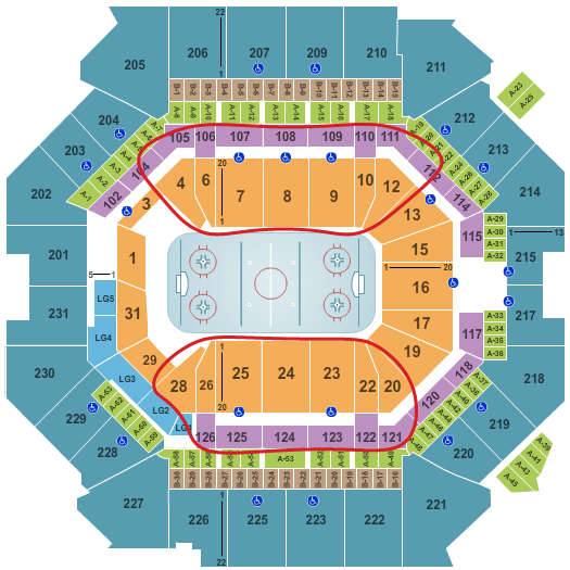 Biglietti dei New York Islanders - Barclays Center Mappa dei posti a sedere