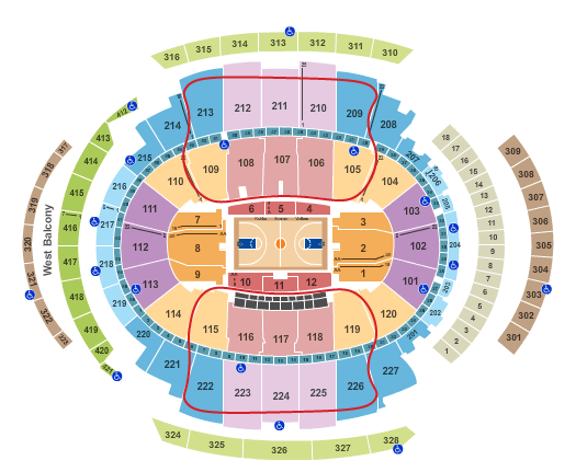 Biglietti dei New York Knicks - Madison Square Garden Mappa dei posti a sedere