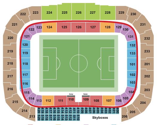 Biglietti dei New York Red Bulls - Red Bull Arena Mappa dei posti a sedere